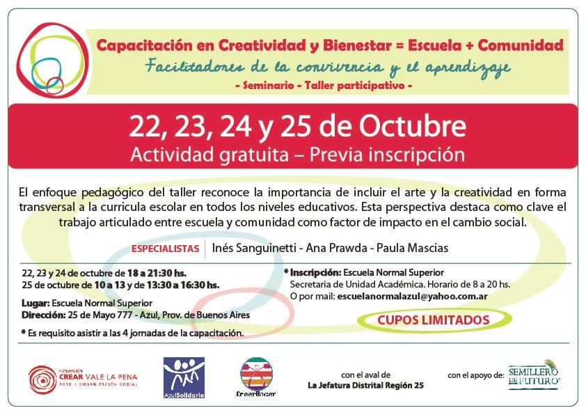 """Seminario """"Creatividad y Bienestar = Escuela + Comunidad"""". Actividad gratuita, en Azul (Buenos Aires)"""
