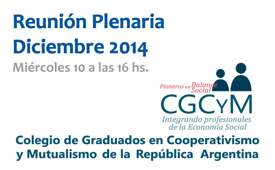 Reunión Plenaria del CGCyM del mes de diciembre: el miércoles 10 a las 16 hs.