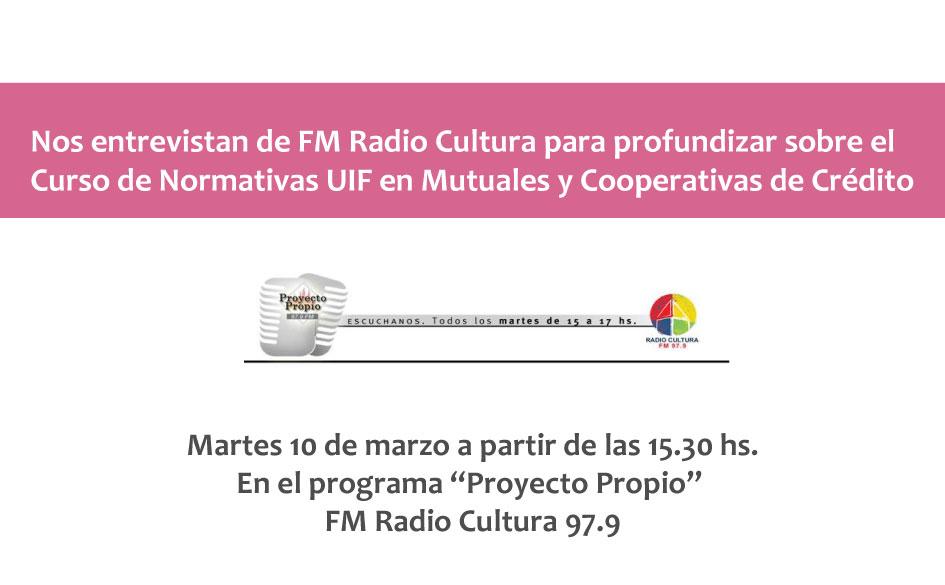 Hoy estaremos presentando en Radio Cultura el Curso sobre Normativas UIF para cooperativas y mutuales de crédito.