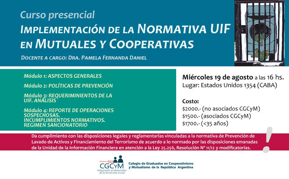 Curso sobre Implementación de la Normativa UIF en Mutuales y Cooperativas. Presencial