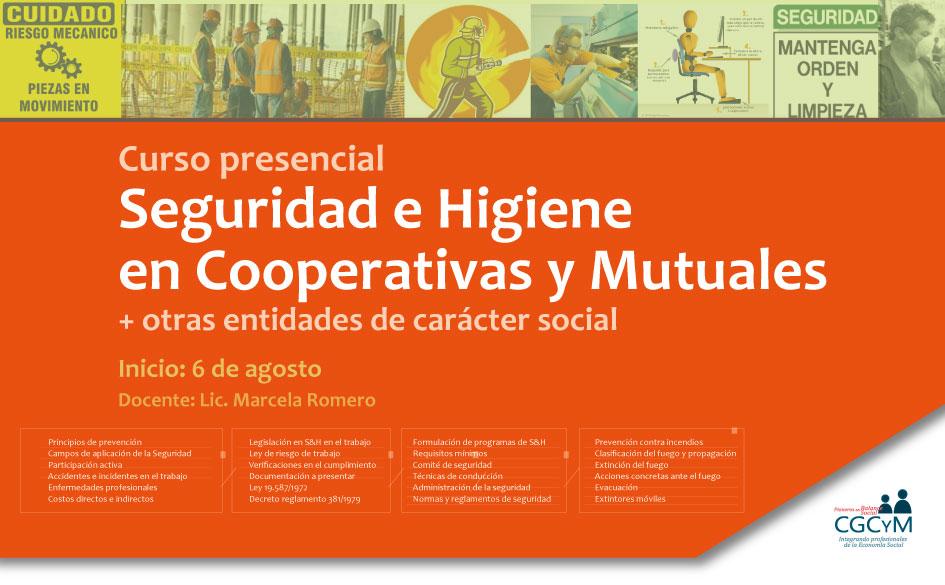 Curso de Seguridad e Higiene en Cooperativas y Mutuales (+ otras organizaciones sociales). Presencial.