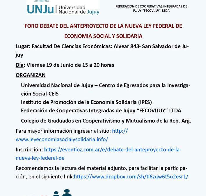 El CGCyM Jujuy coorganiza el Foro de Debate del Anteproyecto de Ley Federal de Economía Social y Solidaria en San Salvador de Jujuy