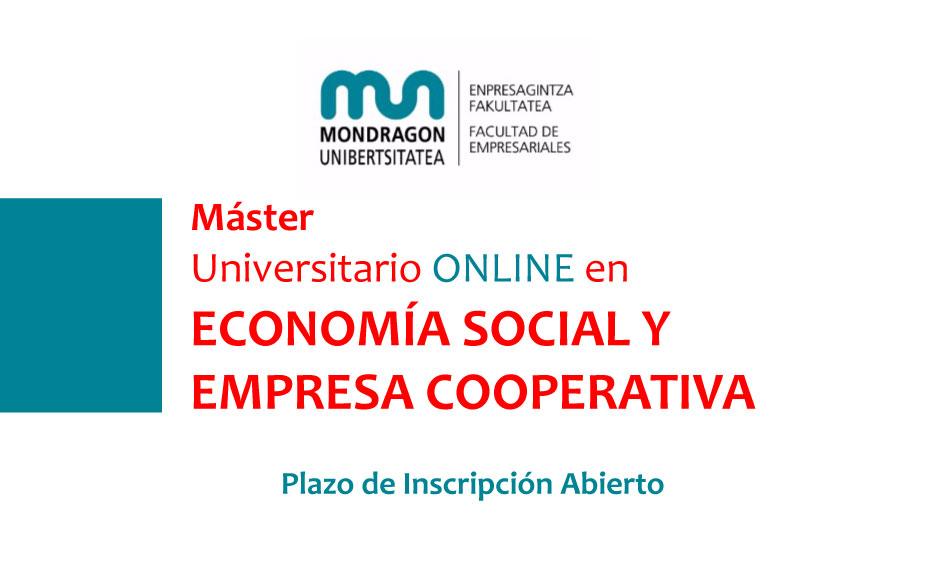 Máster Universitario ONLINE en ECONOMÍA SOCIAL Y EMPRESA COOPERATIVA