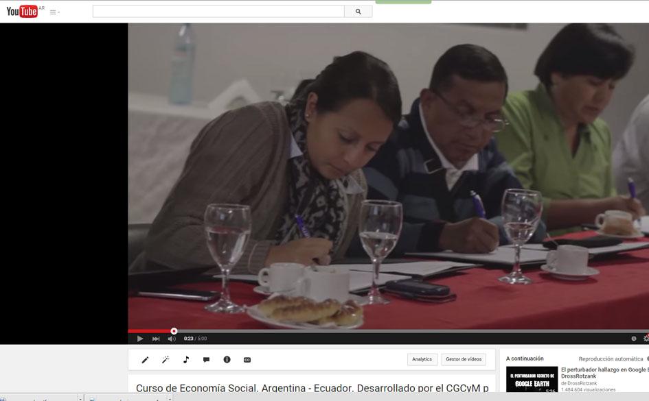 Video sobre la experiencia educativa con cooperativistas ecuatorianos desarrollada por el CGCyM