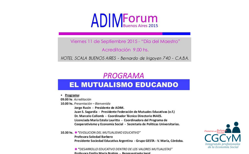 """El CGCyM estará presente en el Forum ADIM 2015 """"El mutualismo educando"""". La inscripción es libre y gratuita."""