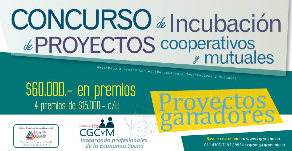Proyectos ganadores del Concurso de Incubación de Cooperativas y Mutuales organizado por el CGCyM