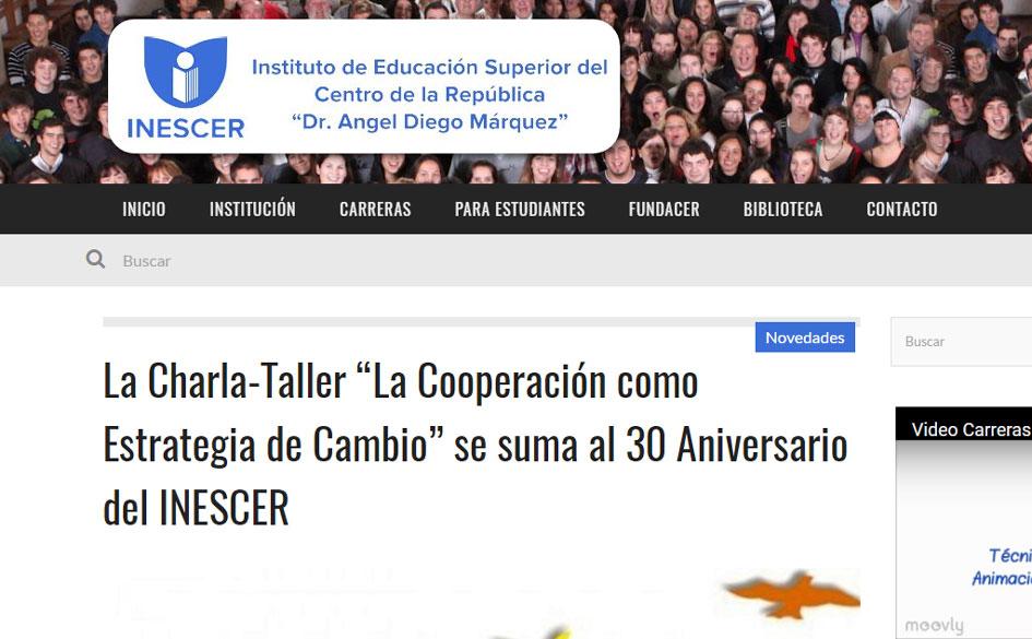 """Charla-Taller """"La Cooperación como Estrategia de Cambio"""" en Villa María (Córdoba)"""
