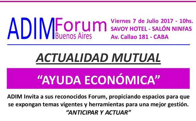 Actualidad Mutual sobre Ayuda Económica. Actividad gratuita de ADIM Mutual