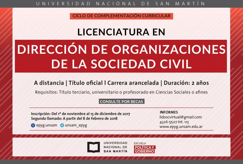 Beneficio para asociados: Becas para la Licenciaturaen Dirección de Organizaciones de la Sociedad Civil