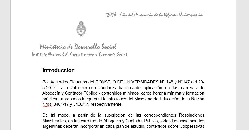 Propuesta del INAES: contenidos de cooperativismo y mutualismo en las carreras de contador y abogado