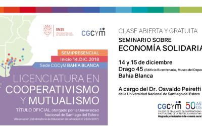 Cátedra abierta en Bahía Blanca sobre Economía Solidaria a cargo del Dr. Osvaldo Peiretti