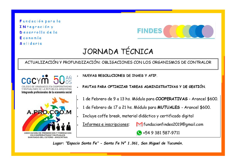 Jornada de actualización para cooperativas y mutuales en San Miguel de Tucumán