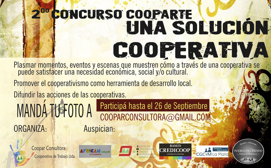 """2º Concurso Fotográfico CoopArte """"Una solución cooperativa"""". Importantes premios."""