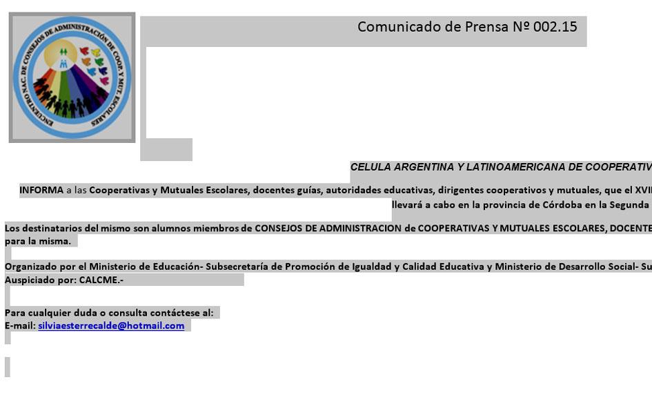 XVIII Encuentro Nacional de Consejos de Administración de Cooperativas y Mutuales Escolares (E.N.C.A.C.E.)