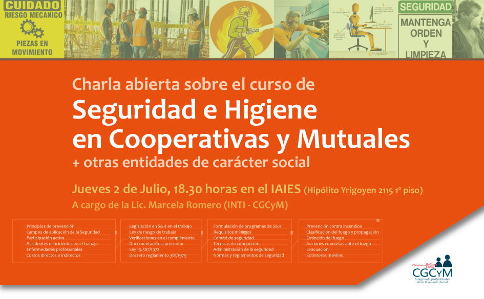 Charla abierta: Seguridad e Higiene en Cooperativas y Mutuales. El 2 de julio a las 18.30 hs. en el IAIES