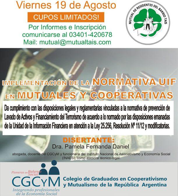 Jornada intensiva sobre Normativas UIF en Cooperativas y Mutuales en El Trébol (Santa Fe). Viernes 19 de agosto