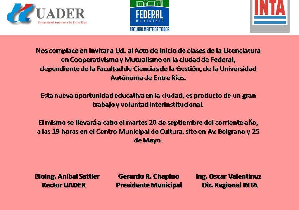 Lanzamiento de la carrera Licenciatura en Cooperativismo y Mutualismo en la UADER (Entre Ríos)