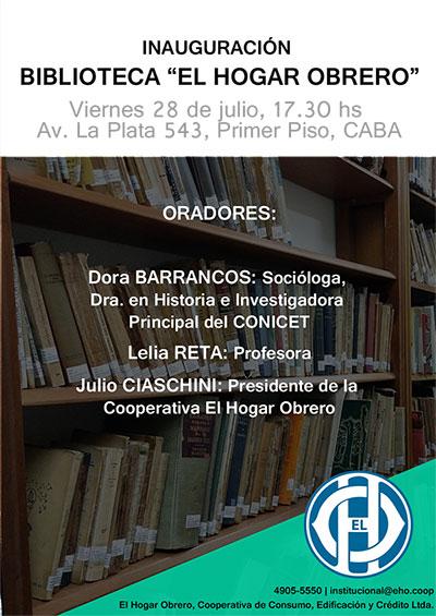 Inauguración de la Biblioteca de la Cooperativa El Hogar Obrero