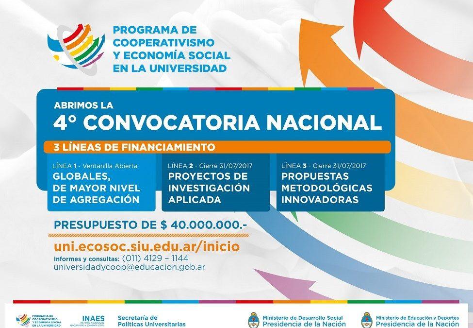 4ta. Convocatoria del Programa de Cooperativismo y Economía Social en la Universidad