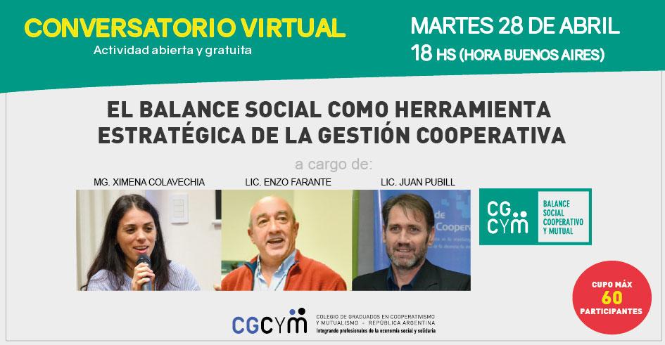 """Conversatorio virtual: """"El Balance social como herramienta estratégica de la gestión Cooperativa"""""""