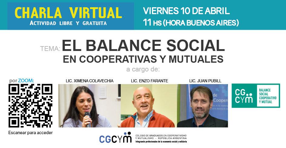 Charla virtual sobre Balance Social Cooperativo y Mutual / Viernes 10 de abril 11 hs