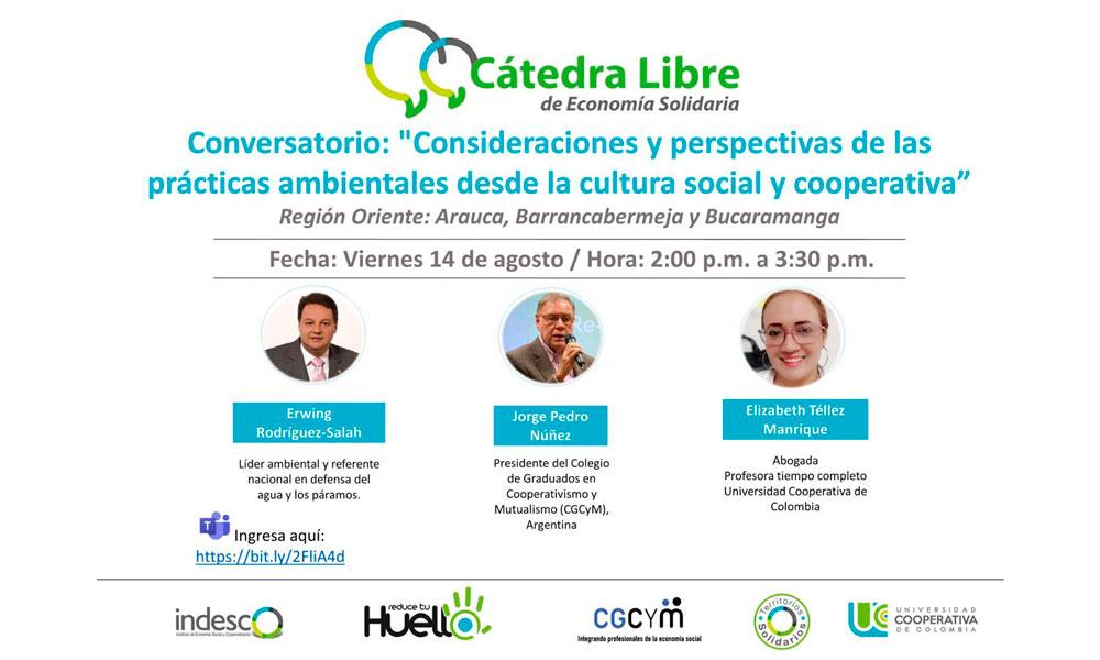 """Conversatorio Internacional: """"Consideraciones y perspectivas de las prácticas ambientales desde la cultura social y cooperativa"""""""