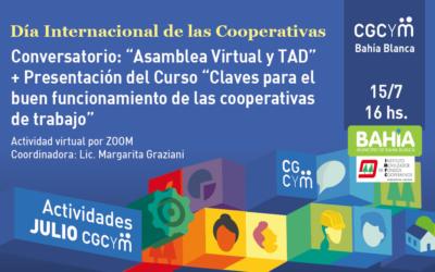 """CGCyM Bahía Blanca organiza el Conversatorio: """"Asamblea Virtual y TAD"""" y presentará el curso """"Claves para el buen funcionamiento de las cooperativas de trabajo"""""""